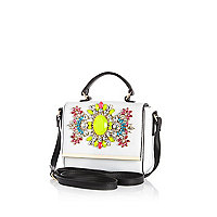 White gem stone encrusted mini flap over bag
