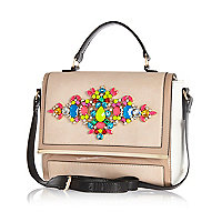 Beige gem stone embellished messenger bag