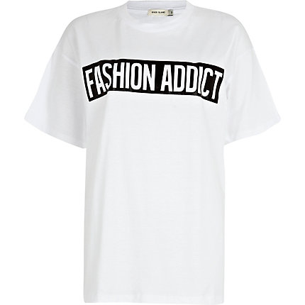 White fashion addict print oversized t-shirt