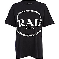 Black rad print oversized t-shirt