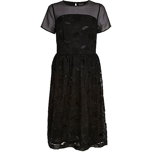 Black 3D embellished midi skater dress