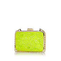 Lime lace box clutch bag