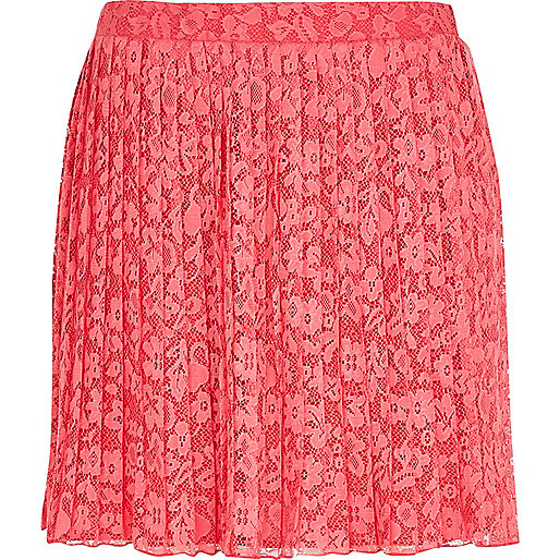 Pink pleated lace skater skirt