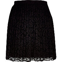 Black lace pleated skater skirt