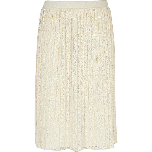 Cream pleated lace midi skirt