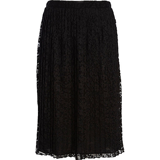 Black pleated lace midi skirt
