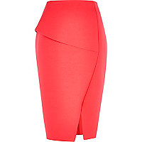 Pink architectural scuba pencil skirt