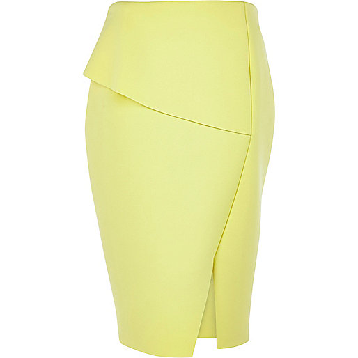 Light yellow asymmetric peplum skirt