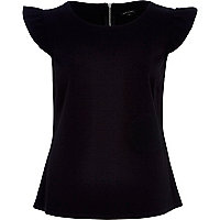 Black ruffle sleeve fitted top