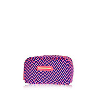 Blue zig zag print make up bag