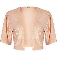 Light pink floral devore shrug