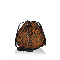 Brown leopard print leather duffle bag