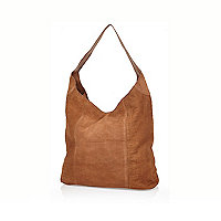 Tan leather croc textured slouch bag