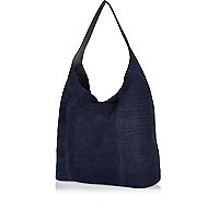 Navy leather croc textured slouch bag