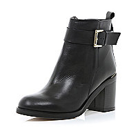 Black block heel buckle boots