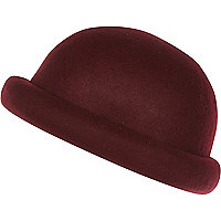 Dark red rolled brim bowler hat