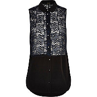 Black two-tone lace panel sleeveless shirt