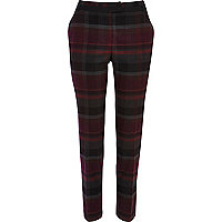 Purple check smart trousers