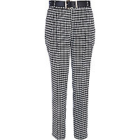 Black dogtooth high waisted trousers