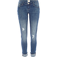 Mid wash ripped Daisy slim jeans