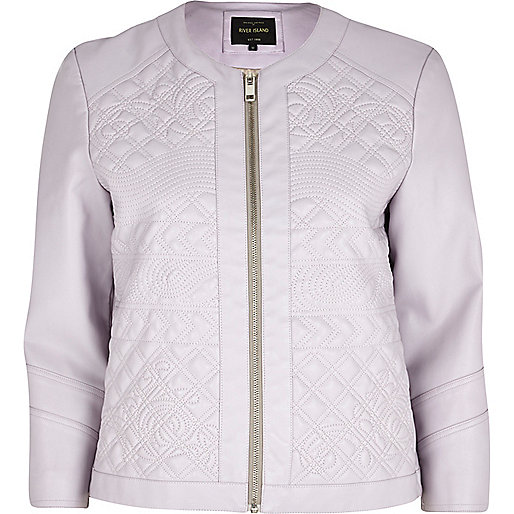 Lilac embossed leather-look jacket