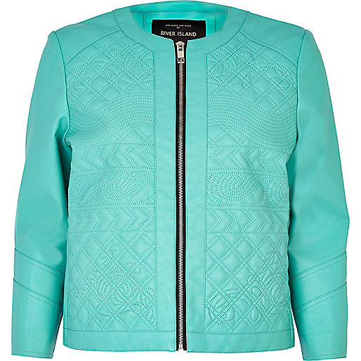 Aqua embossed leather-look jacket