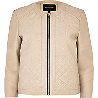 Beige embossed leather-look jacket