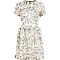 Cream jacquard necklace skater dress