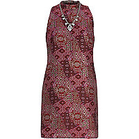 Pink jacquard turtle neck shift dress