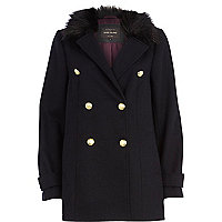 Navy faux fur collar pea coat