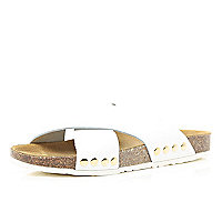 White cross strap mule sandals