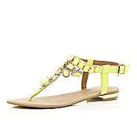 Yellow gem stone embellished T bar sandals