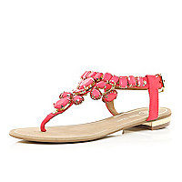 Pink gem stone embellished T bar sandals