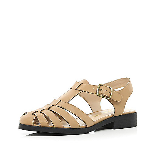 Tan strappy gladiator sandals
