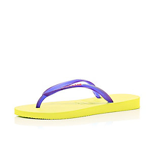 Yellow colour block slim Havaianas flip flops