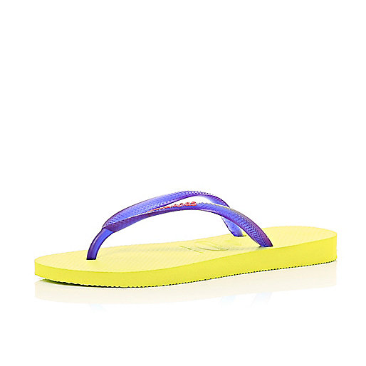 Yellow colour block slim Havaianas