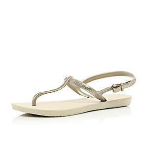 Gold Havaianas T-bar sandals