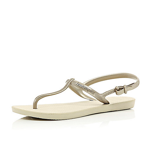 Gold Havaianas T bar sandals