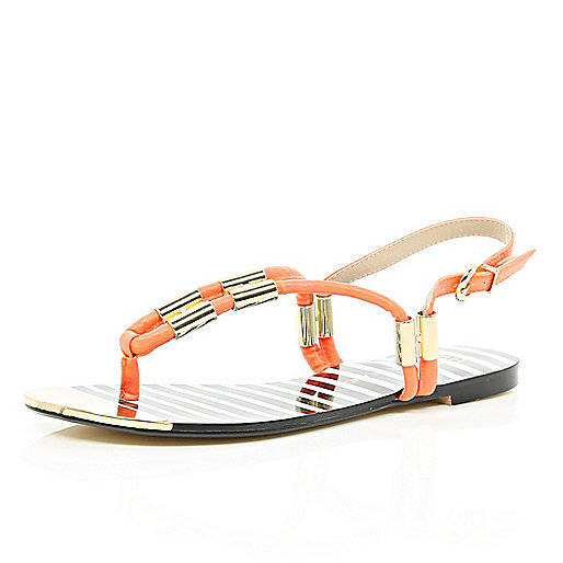 Orange metal trim toe post sandals