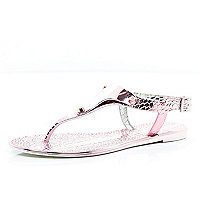 Pink metallic croc jelly sandals