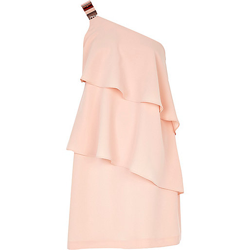 Light pink layered frill one shoulder dress