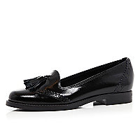 Black patent tassel brogue loafers