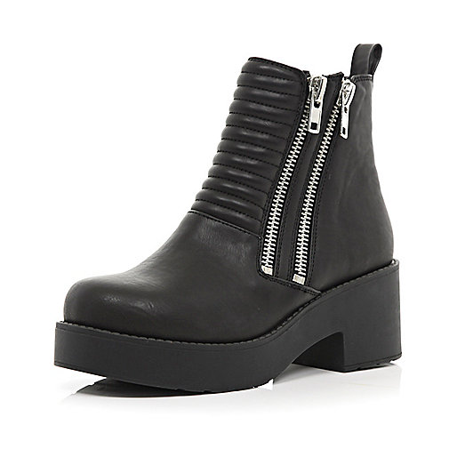 Black double zip chunky ankle boots