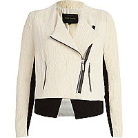 Cream jacquard biker jacket