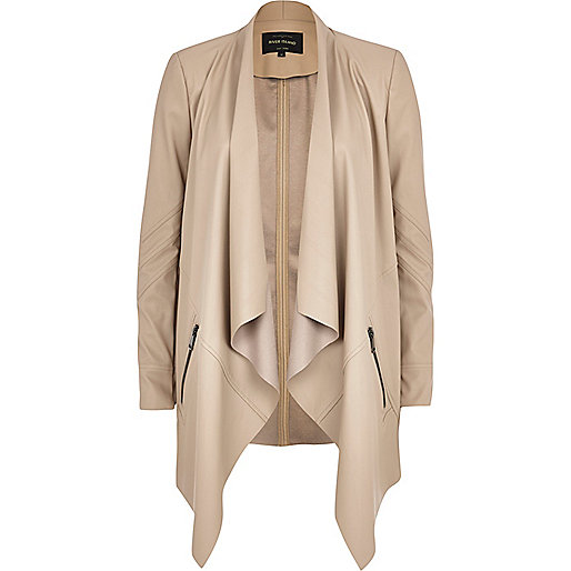 Beige leather-look waterfall jacket