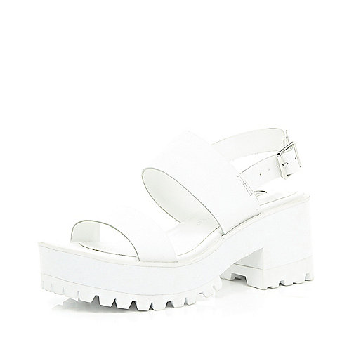 White block heel cleated sole sandals