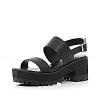 Black block heel cleated sole sandals