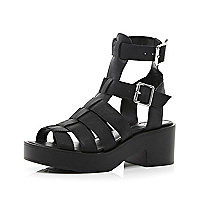 Black chunky high leg gladiator sandals