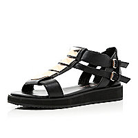 Black cleated sole studded flatform sandals