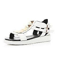 White studded cleated flatform sandals
